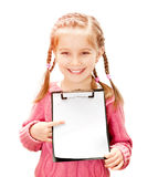 Little girl with white blank Stock Images