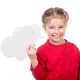 Little girl with white blank. Cute little girl with white blank Royalty Free Stock Images