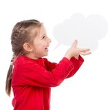 Little girl with white blank Royalty Free Stock Images