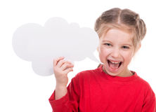 Little girl with white blank. Cute little girl with white blank Stock Photos