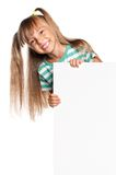 Little girl with white blank. Portrait of happy little girl with white blank isolated on white background Stock Image