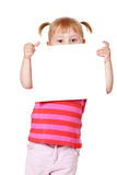 Little girl with white board Stock Photo