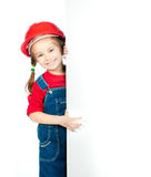 Little girl  with a white board Royalty Free Stock Image