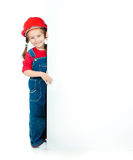 Little girl  with a white board Stock Photos