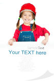 Little girl  with a white board Royalty Free Stock Photography