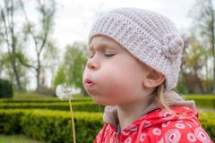 Little girl with dandelion Stock Photos