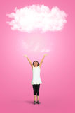 Little girl with white cloud Stock Photos