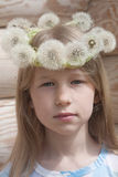 Little girl in white dandelion crown Stock Images