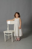 Little girl in a white dress Royalty Free Stock Photo