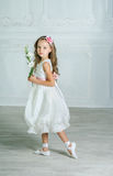 Little girl in white dress and flower is posing in a beautiful s Stock Photography