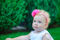 Little girl in white dress Royalty Free Stock Photography