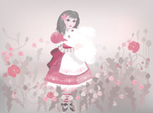 Little girl with white fluffy bunny. Decorative background with red poppy patterns Stock Image
