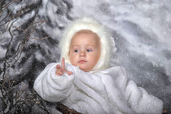Little girl in a white fur coat and hat Royalty Free Stock Photography