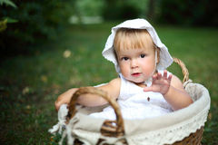 Little girl in white hat Royalty Free Stock Photography