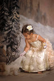 Little girl in a white princess dress Royalty Free Stock Photo