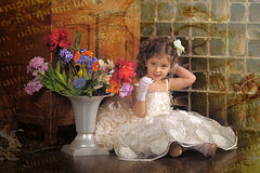 Little girl in a white princess dress Royalty Free Stock Images
