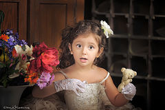 Little girl in a white princess dress Stock Image