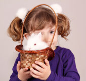 Little girl with white rabbit Royalty Free Stock Images