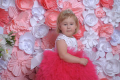 Little girl in white with a red dress Royalty Free Stock Photography