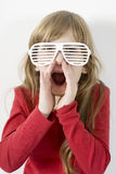 Little girl in white sun glasses  shouting Royalty Free Stock Image