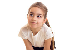 Little girl in white T-shirt and black skirt Stock Image