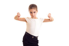 Little girl in white T-shirt and black skirt Stock Photo