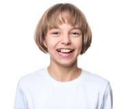 Little girl in white t-shirt Stock Photos