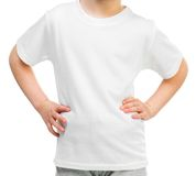 Little girl in white t-shirt Stock Photo