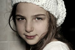 Little girl. With white wool hat handmade Royalty Free Stock Photos