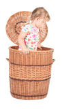 Little girl in wicker box Royalty Free Stock Photos