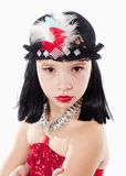 Little Girl in Wig and Red Dress in 1930ties Style Royalty Free Stock Photo
