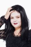 Little Girl with Wig and Scary Makeup Stock Image
