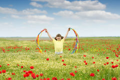 Little girl on wildflowers meadow Royalty Free Stock Photo