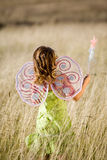 Little girl with wings. Little girl with butterfly wings and magic wand Royalty Free Stock Photos