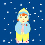Little girl in winter. A little girl wearing winter outfit with rabbit shoes, snow are falling royalty free illustration