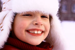 Little girl in a winter city Royalty Free Stock Photo