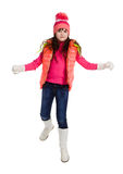 Little girl in winter clothes, isolated on white Royalty Free Stock Photography