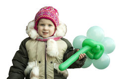 Little girl in winter clothes looking sad. On a white background Royalty Free Stock Images