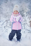 Little girl in  winter forest Stock Photos