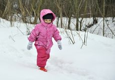 Little girl in winter forest Stock Photo