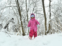 Little girl in winter forest Royalty Free Stock Images