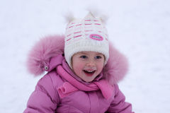 Little girl in the winter Stock Image