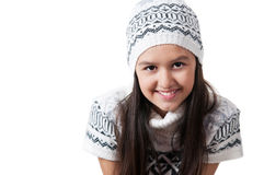 Little girl in a winter jacket and hat Royalty Free Stock Images