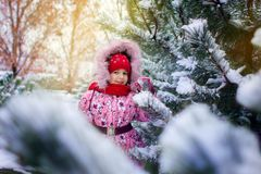 The little girl in a winter jacket in a winter landscape. The little girl in a winter jacket costs among snow-covered fir-trees Stock Images