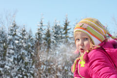Little girl in winter park Royalty Free Stock Photography