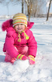 Little girl in winter park Royalty Free Stock Photos