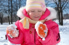 The little girl in winter park royalty free stock photography