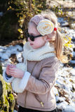 Little girl , winter , park, knitted headband Royalty Free Stock Image