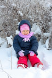 Little girl in winter pink hat in snow park Stock Image