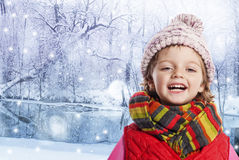 Little girl in winter time Stock Images